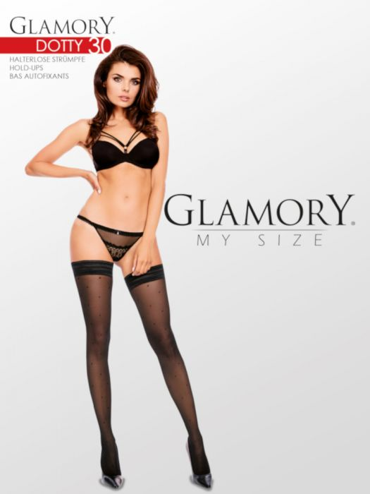 Glamory DOTTY 30 Hold Ups Plus Size (Flattering Polka Dots)G-50503
