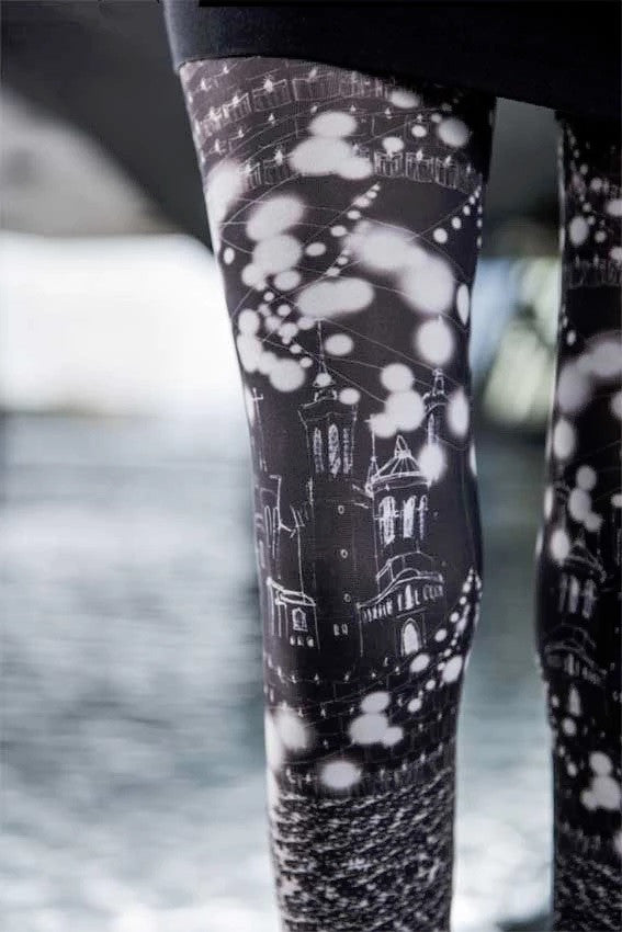Light Printed Tights - Marie Antoilette Hosiery and Starts with Legs
