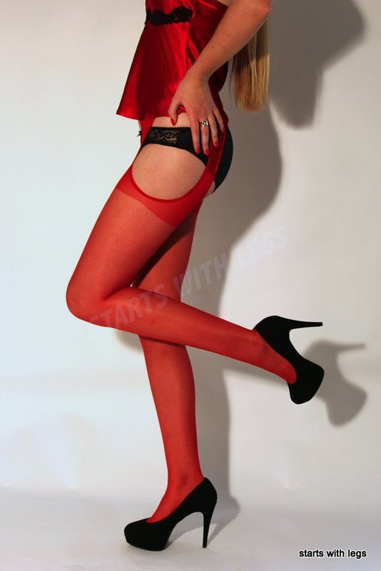 Scandal Tights and Suspender All in One Black/Natural /White/Red by Trasparenze Hosiery