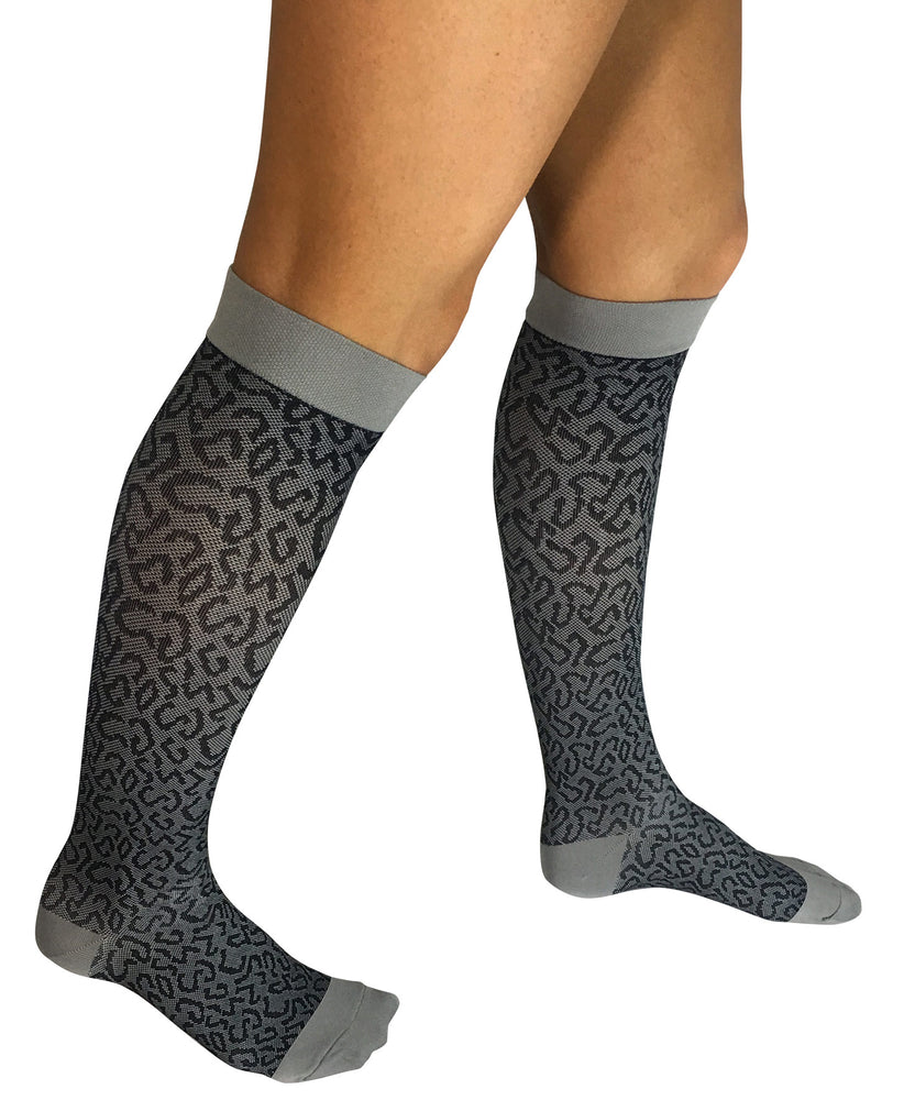 Jinni CHARCOAL LEOPARD MEDICAL COMPRESSION KNEE HIGH SOCK Plus Size Available