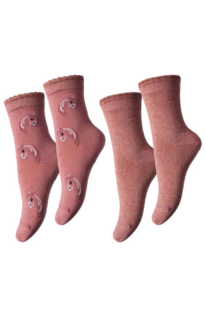 MP Denmark Children ROSE/GREY BAMBOO Socks (2 Pack Special) 79008
