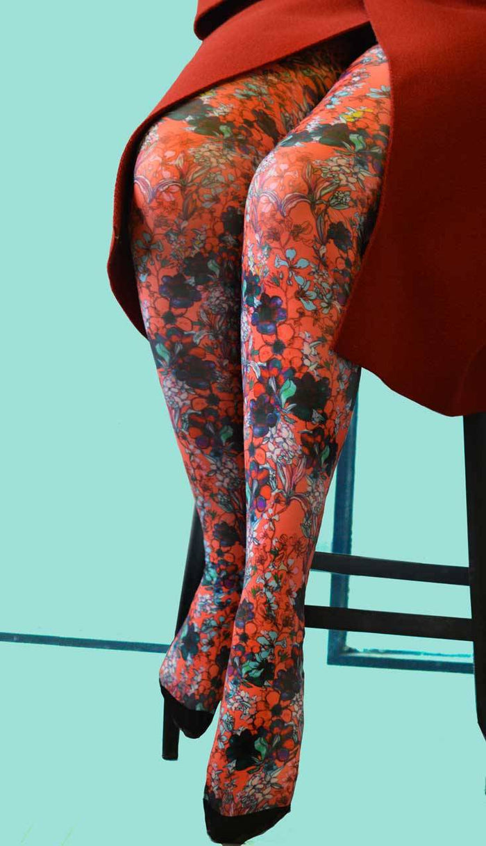 ANTOINETTE ROUGE Printed Tights/Pantyhose (Luxury French Hosiery)