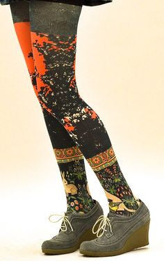 Marie Antoilette French Hosiery Stella Printed Tights -Starts with Legs