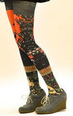 Stella Printed Tights - Marie Antoilette Hosiery and Starts with Legs