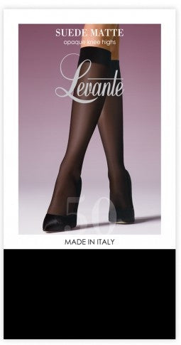 Knee Highs Opaque Suede Matte and Black- Levante Hosiery