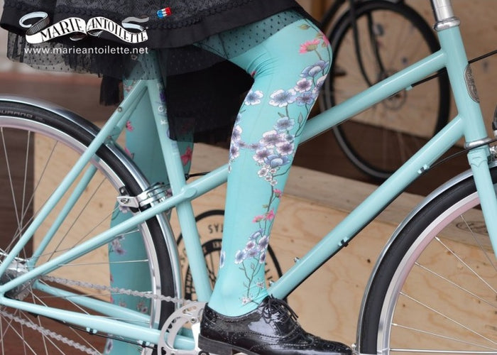 Marie Antoilette French Hosiery Mariette Bleue Pale Aqua Printed Tights - Starts with Legs