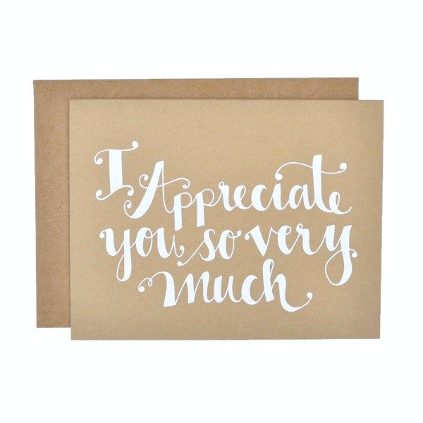stock photo of Kraft card with I appreciate you so very much screen printed in white with matching brown envelope