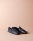 leather house shoes for men [black]