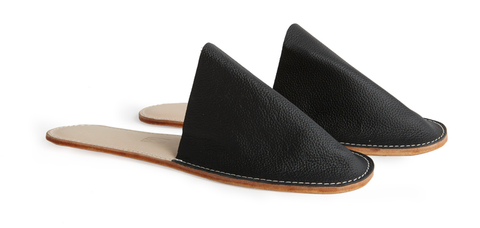 Leather House Slide- Black
