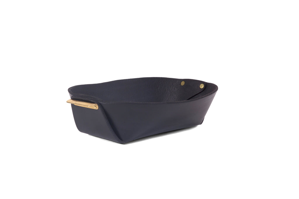 Leather and Brass Bowl- Black