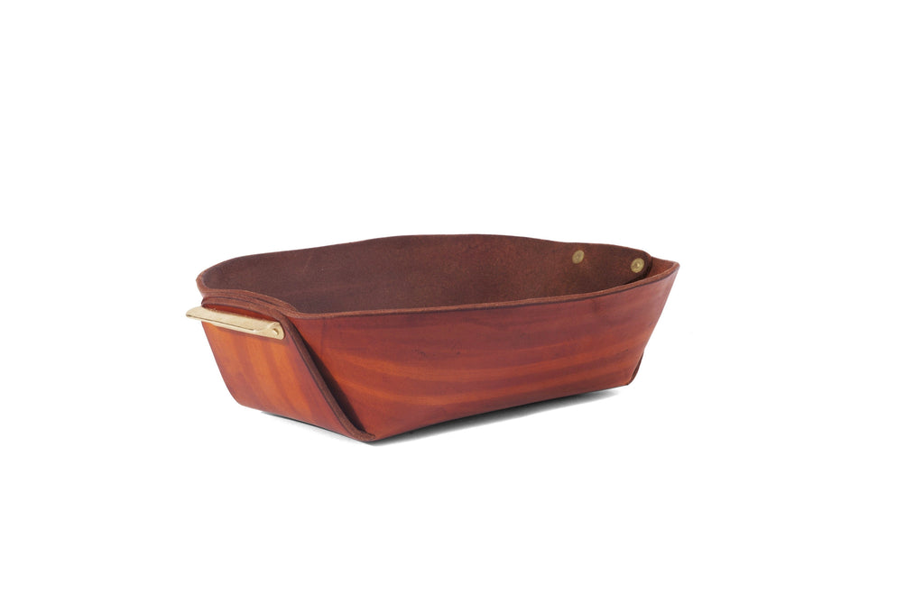 Leather and Brass Bowl- Brown