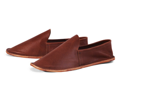 Leather House Shoe- Men's Brown