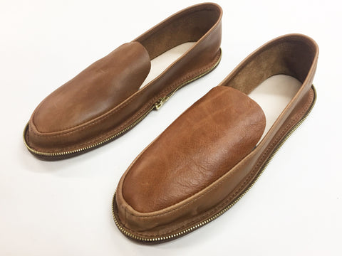 Leather Zip Travel Slipper- Men's Brown