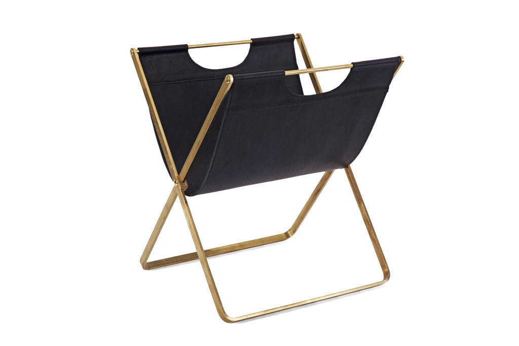 Brass and Leather Magazine Rack- Black