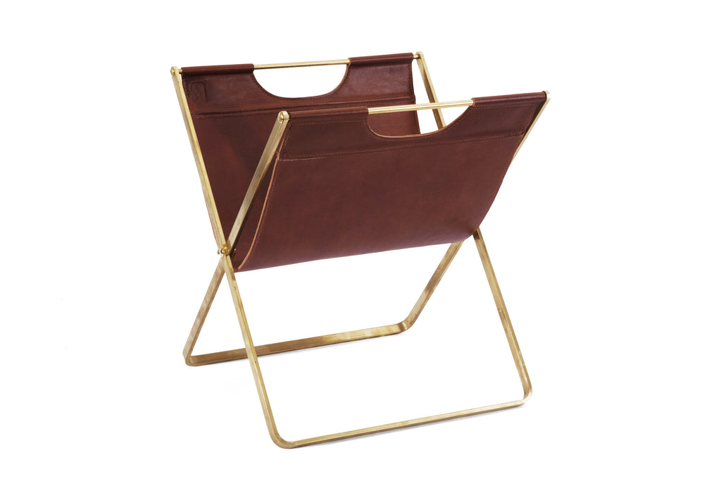Brass and Leather Magazine Rack- Brown