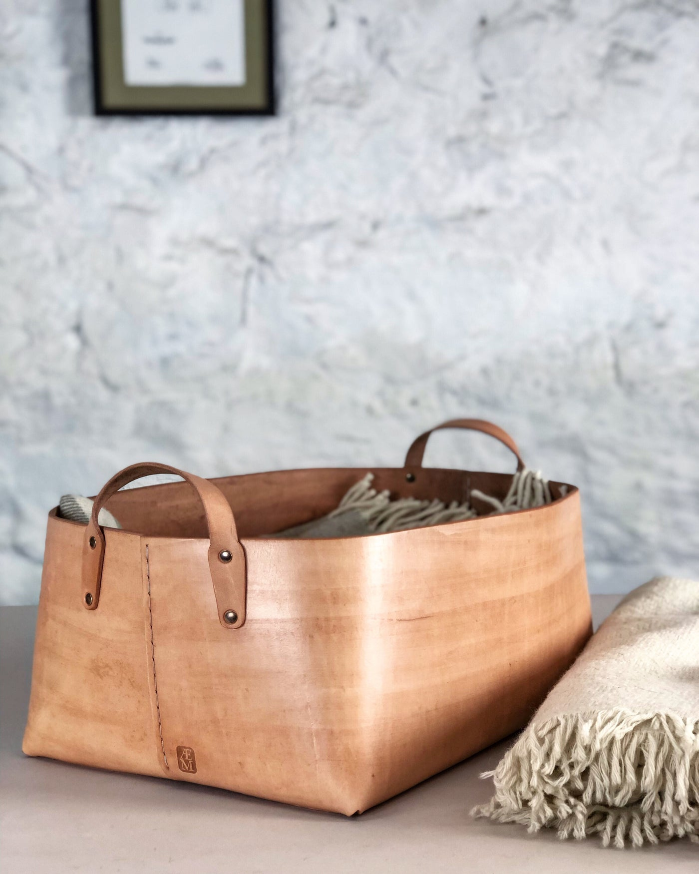 Hand Sewn Leather Basket