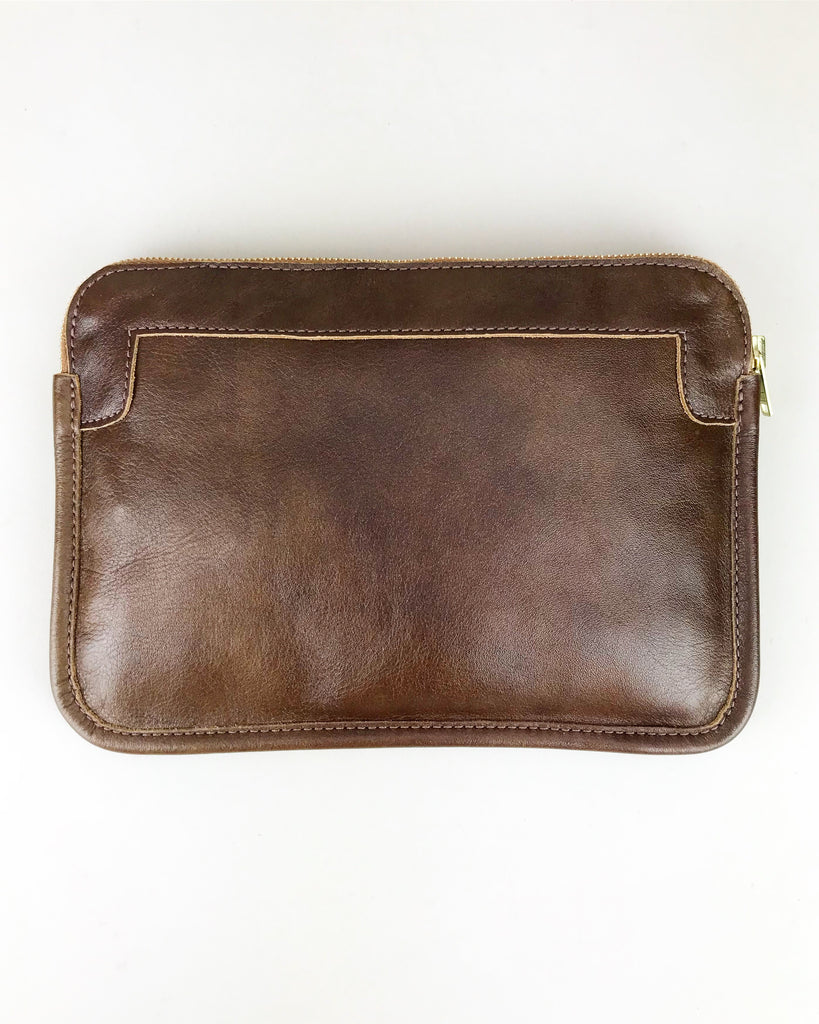 Leather Zip Pouch- Brown