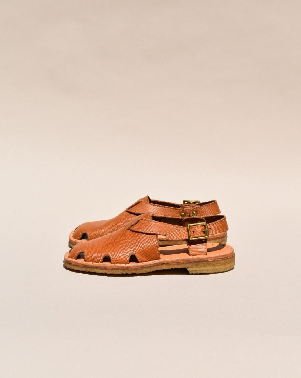 Crepe Soled Leather Fisherman's Sandals