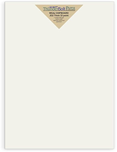 10 Sheets Chipboard 32pt White 1 Side 9X12 inches 9 X 12 Frame and Sketch Pad Size Caliper White Coated on Brown Kraft Cardboard Paper Point Medium Weight Thickness PaperBoard .032