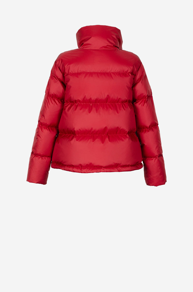 Cropped Down Jacket in lipstick red