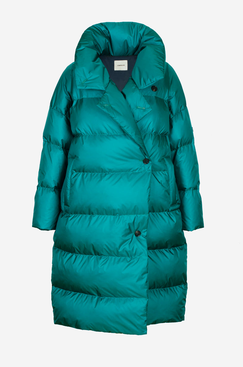 Wrap Down Coat in vibrant green