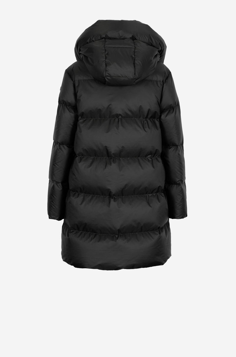 Geometric Quilt Down Parka in black