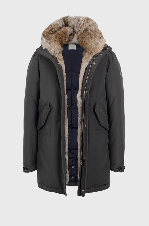 Matt Down Coat in dark green