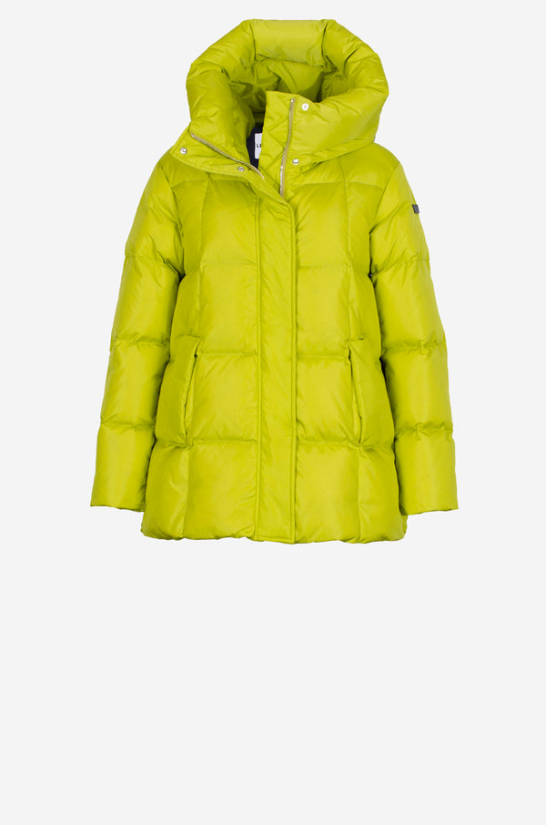 Cube Quilted Down Coat in lime