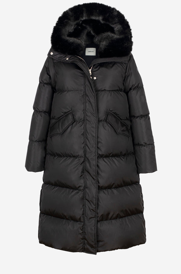 Long Down Parka with faux fur hood in black