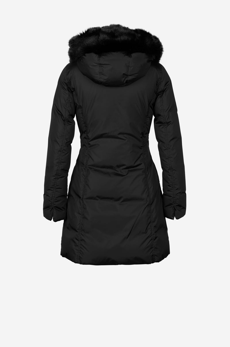 Fitted Down Parka with faux fur hood in black