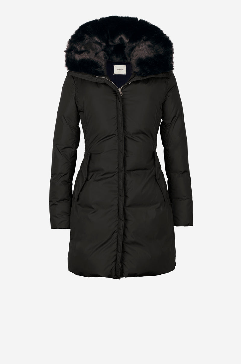 Fitted Down Parka in black