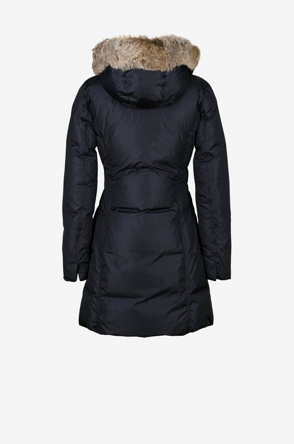 Fitted down coat with rabbit fur hood in dark blue