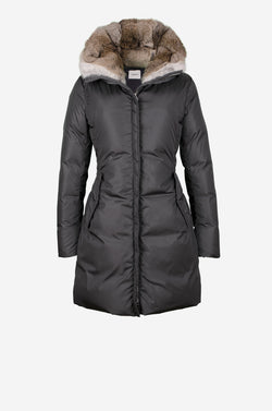 Fitted Down Coat with rabbit fur hood in carbon grey