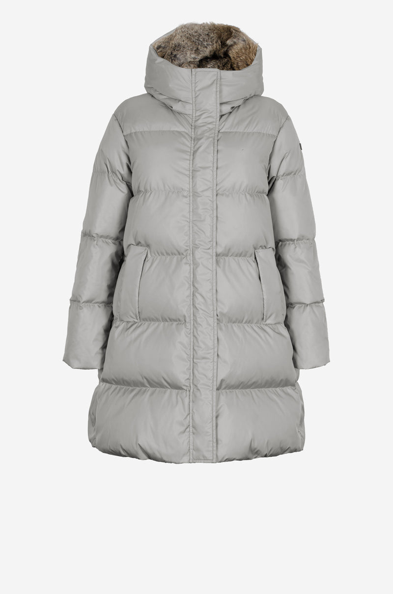 Mid-Length Down Coat in misty grey