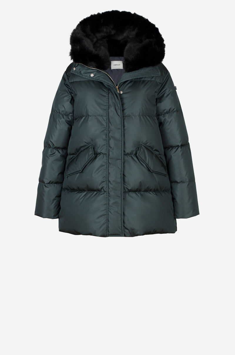 Short Quilted Down Parka with faux fur hood in bottle green