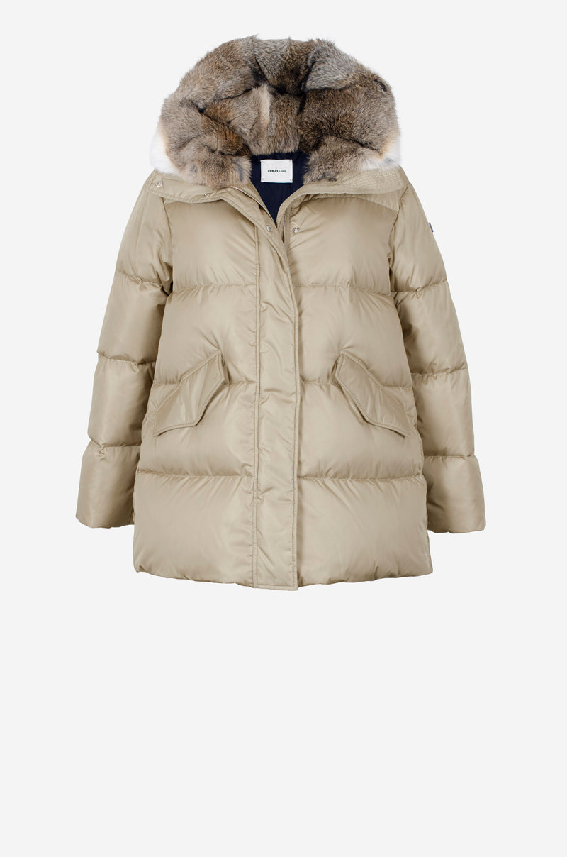 Short Quilted Down Parka in sand