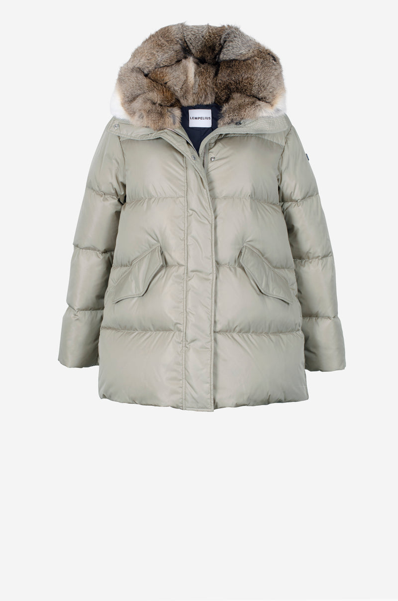 Short Quilted Down Parka in misty grey