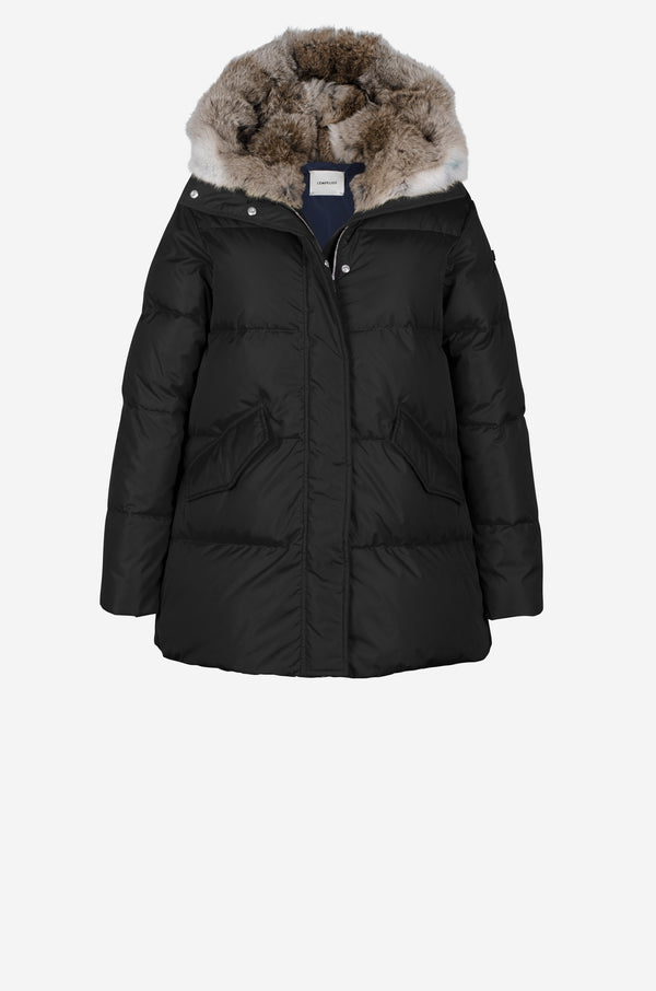 Short Quilted Down Parka with rabbit fur hood in black