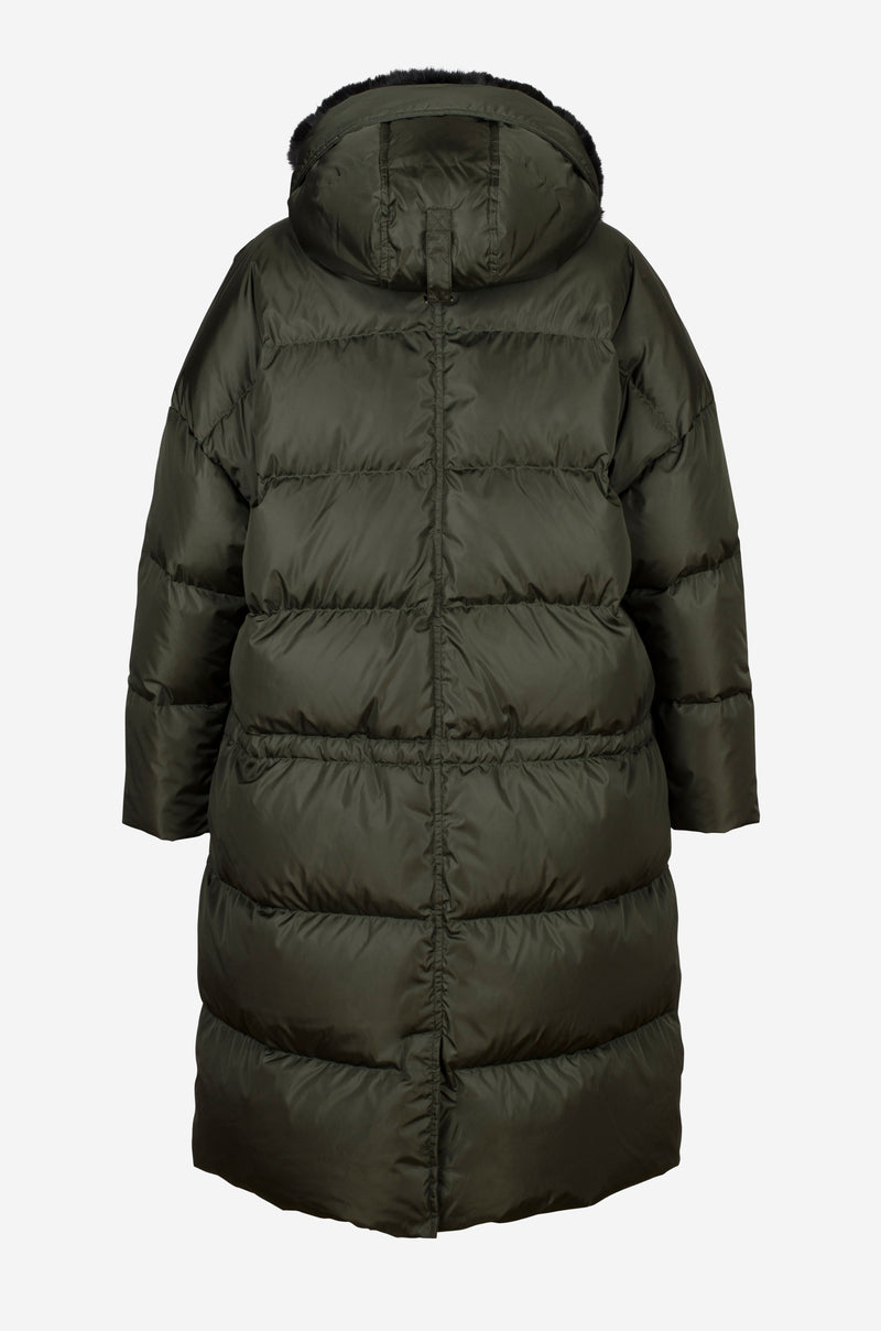 Long Quilted Oversized Down Parka with faux fur hood in dark green