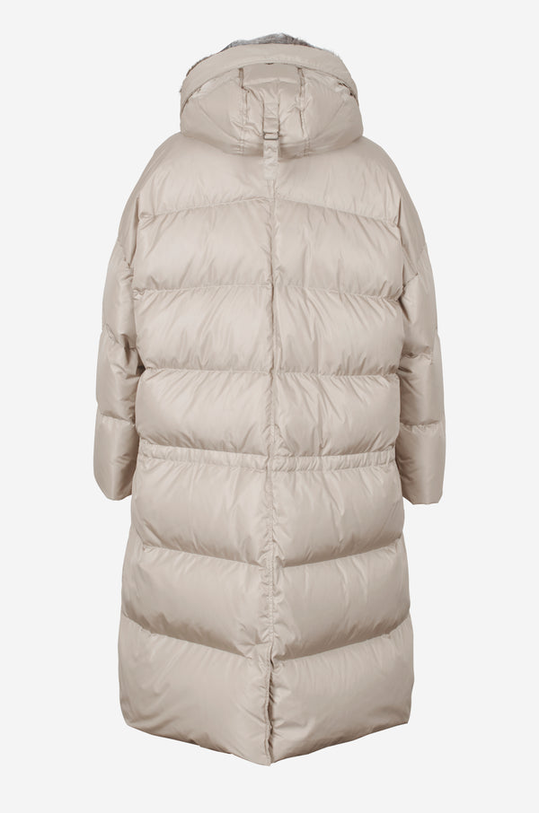 Long Oversized Quilted Down Parka in sand