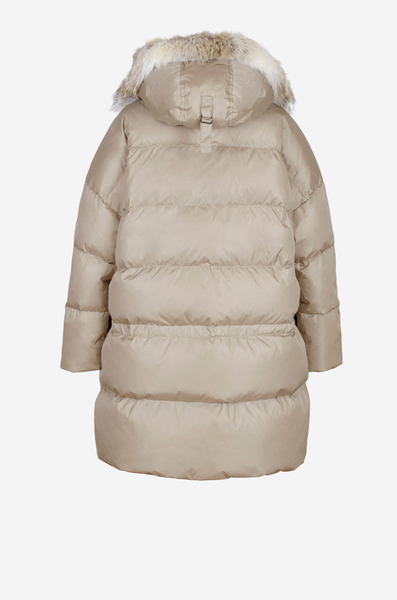 Oversized Quilted Down Parka in sand