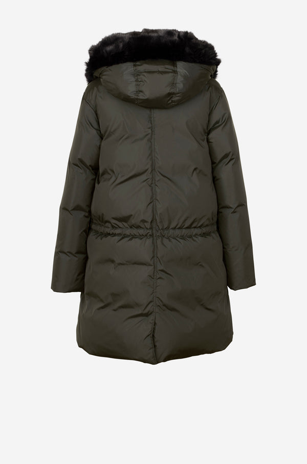 Down Parka with faux fur hood in dark green