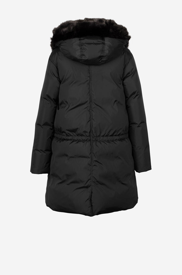 Down Parka with faux fur hood in black