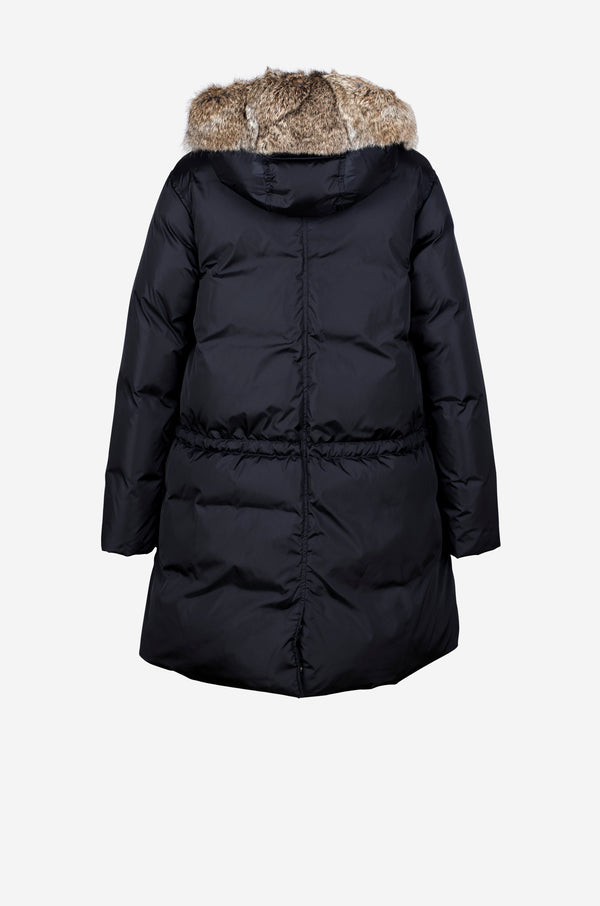 Down Parka with rabbit fur hood in dark blue
