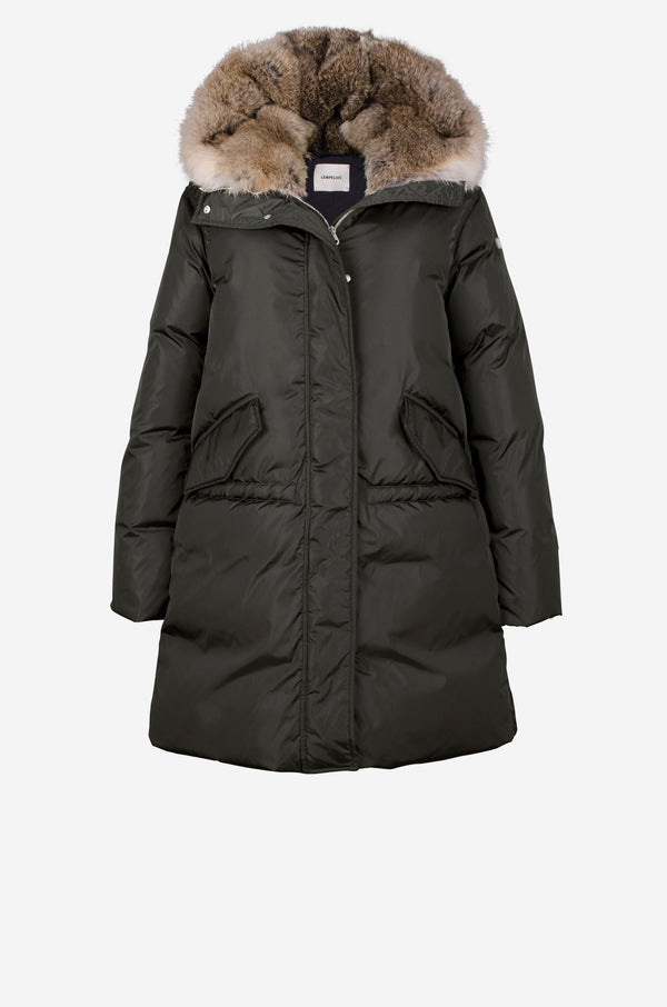 Down Parka with rabbit fur hood in dark green