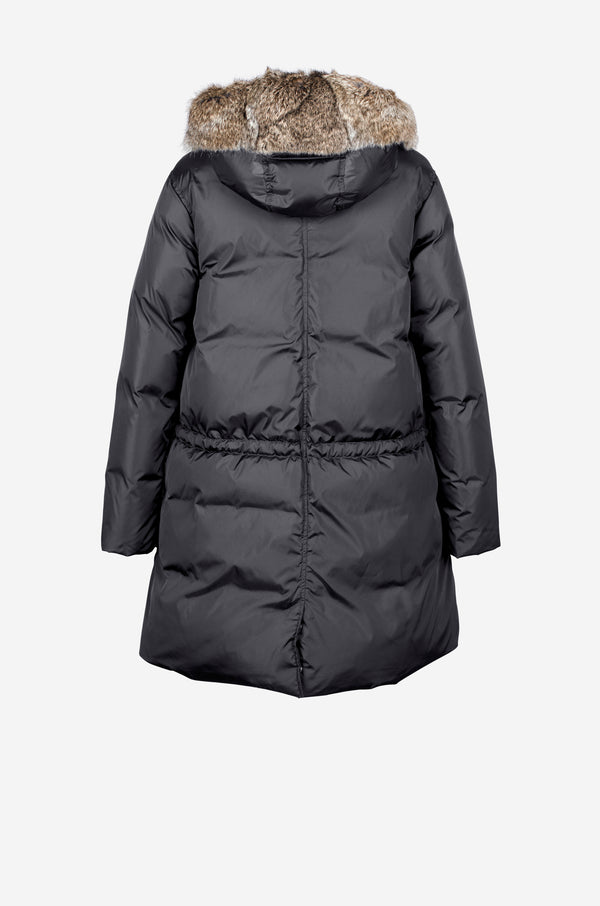 Down Parka with rabbit fur hood in carbon grey