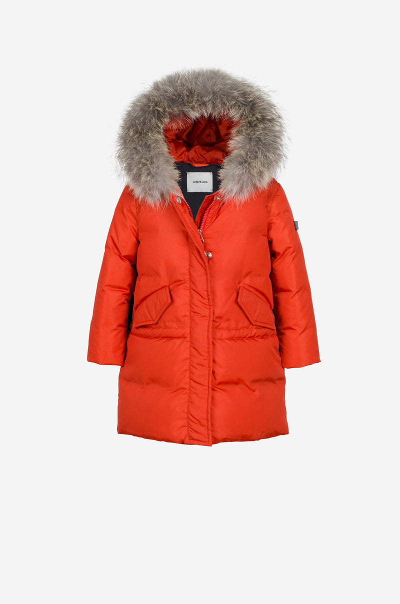 Girls Down Parka with coyote in vibrant red