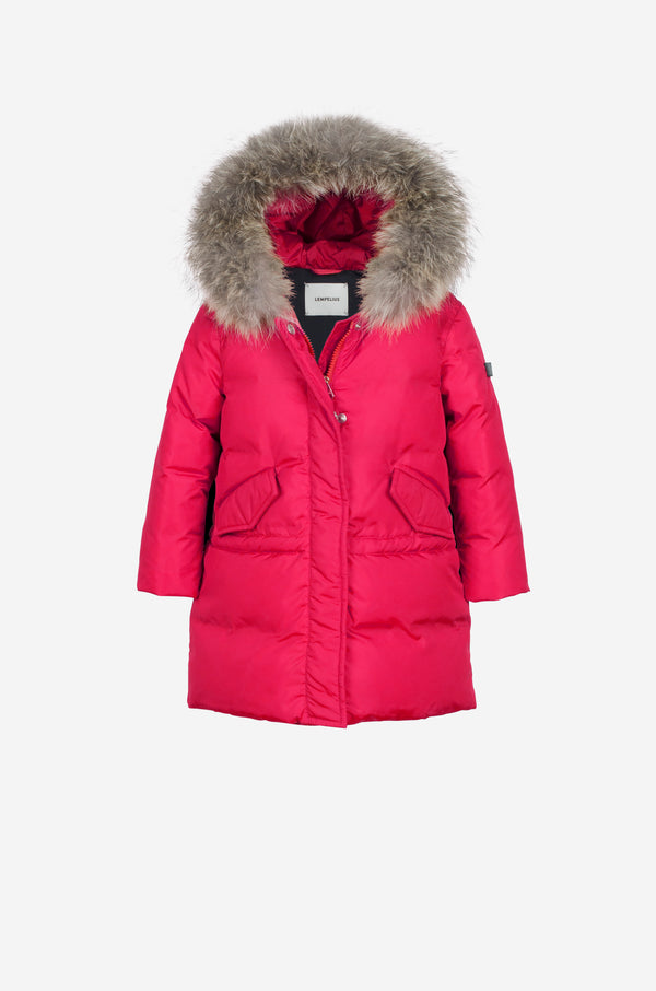 Girls Down Parka with coyote in spicy pink