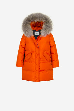 Girls Down Parka with coyote in dusty orange