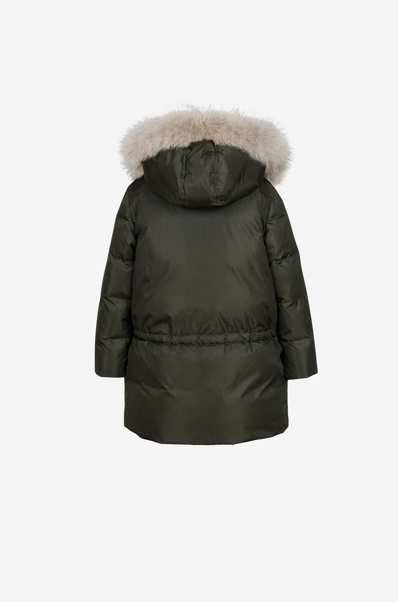 Girls Down Parka with coyote in dark green